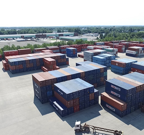 Aerial shot of a container facility